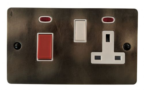 G&H FSL29W Flat Plate Slate 45 Amp DP Cooker Switch & 13A Switched Socket